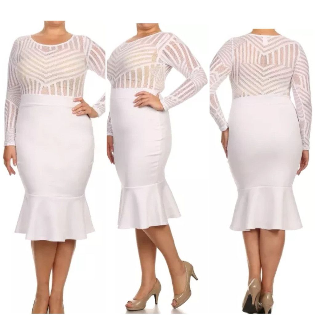 Plus Size Winter White Mesh Top Bodycon Mermaid Midi Flare Dress