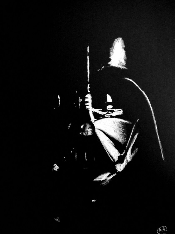 Darth Vader White charcoal on black paper Art by kelseyknobel