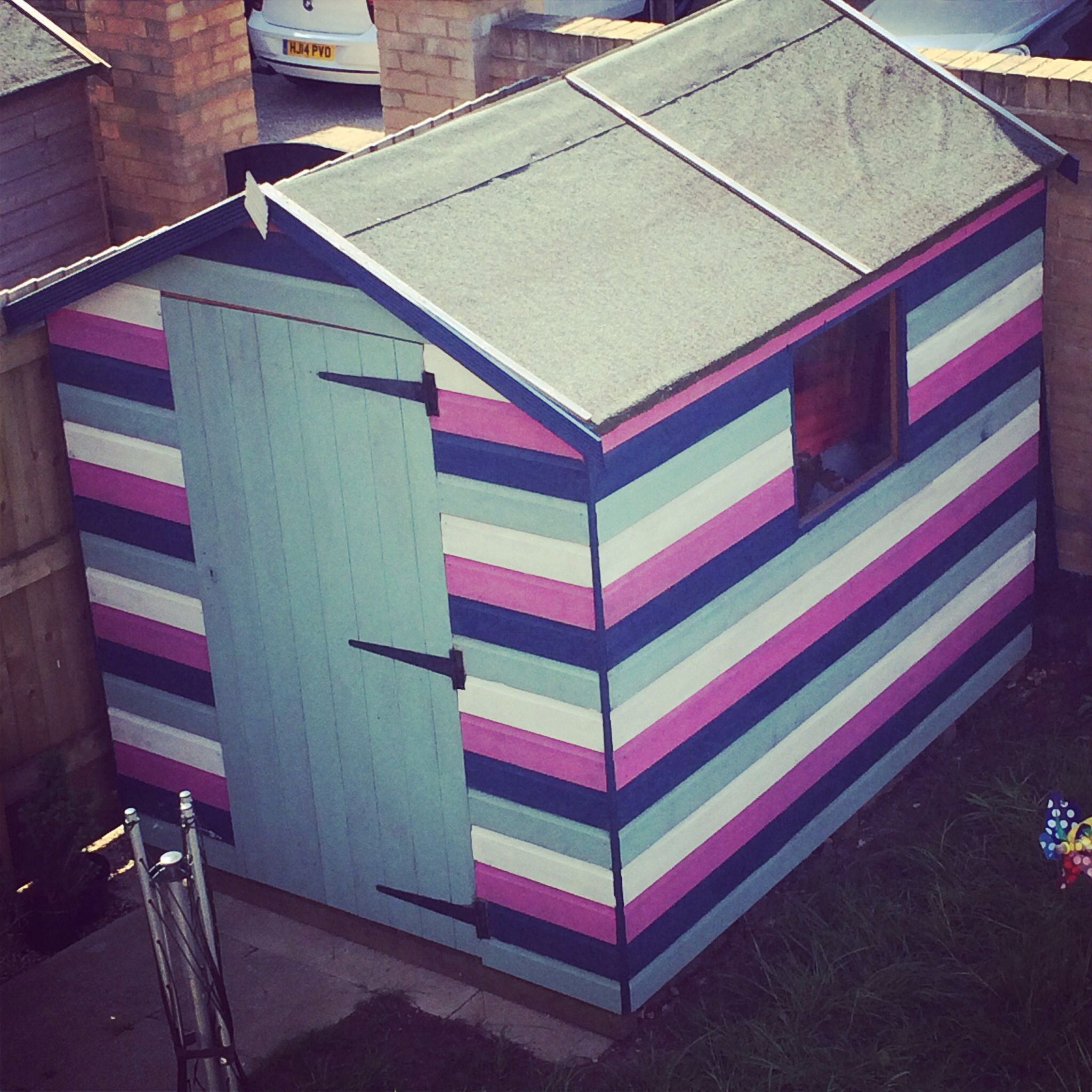 Finally Finished Our Beach Hut Themed Shed It Has Certainly Brightened Up The Garden Tables And Chairs Next Cuprinol Paint Was Just 10 A Tin In B Q