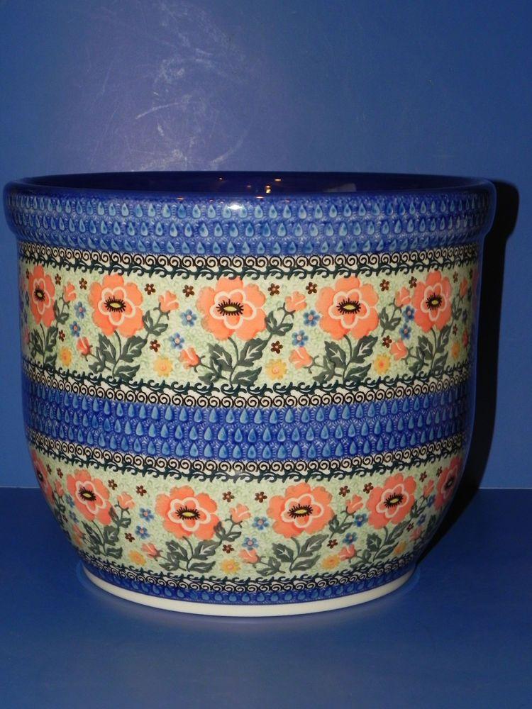 Unikat Teresa Andrukiewicz Polish Stoneware Flower Pot Mint Polish Stoneware Flower Pots Polish Pottery