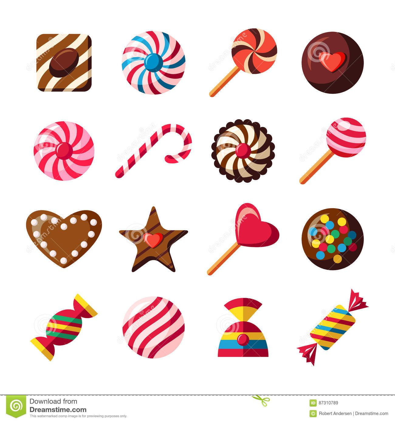 Sweet Candy Icons Chocolate Shapes Vector Icons Set Download