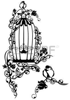 nature vintage cage  oiseaux ouverte retors avec des fleurs de