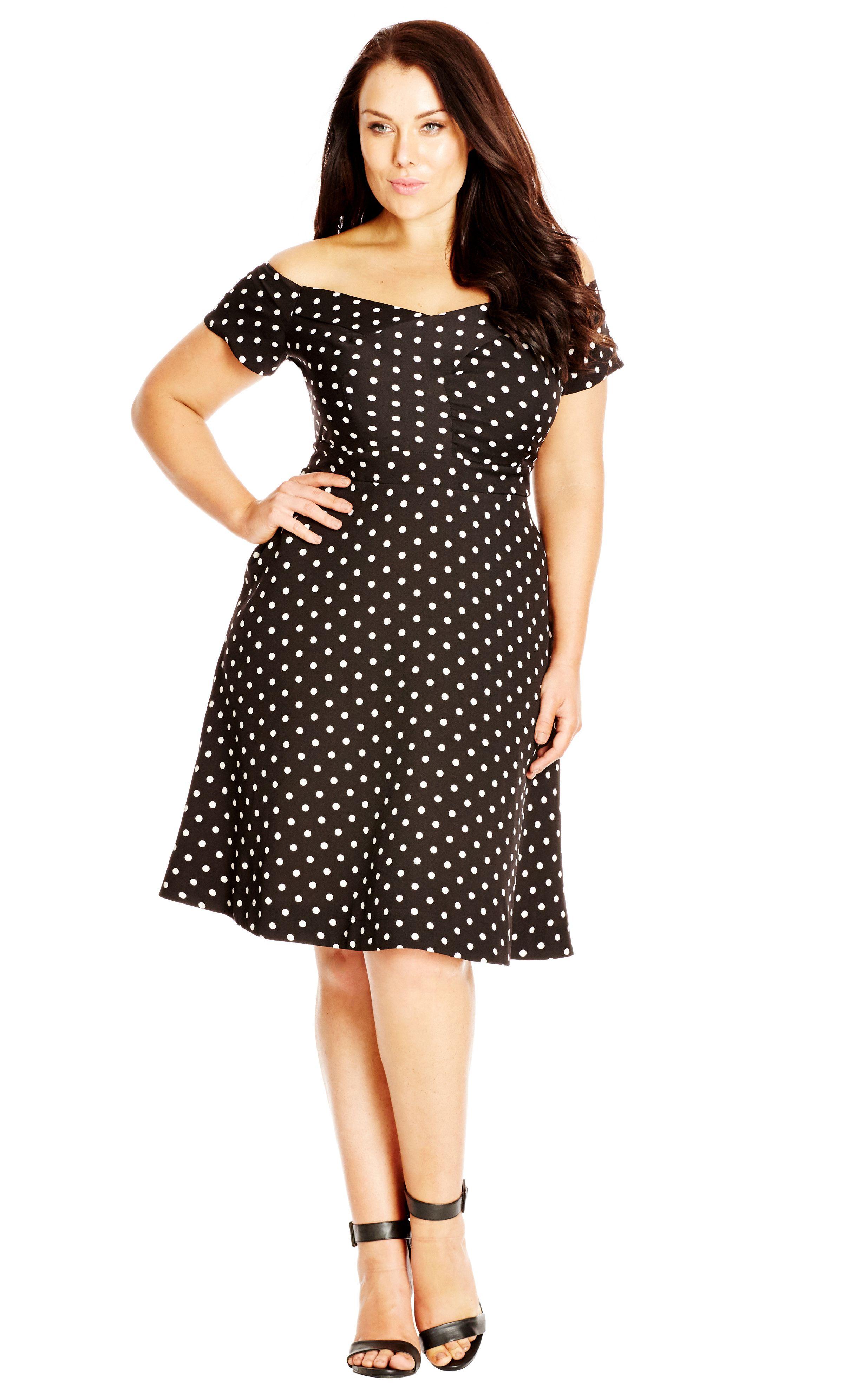 Shop Women s Plus Size Women s Plus Size Polka Dot f Shoulder Fit