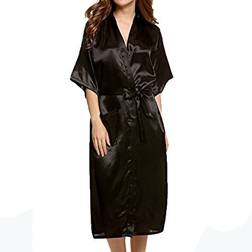 Respctful Sexy Robes Long Classic Satin Waist Tie Sleepwear For Women 283ddd55f