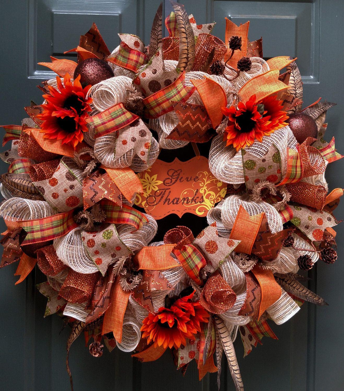 Fall Wreath Burlap Wreath Thanksgiving Wreath Door Wreath Deco
