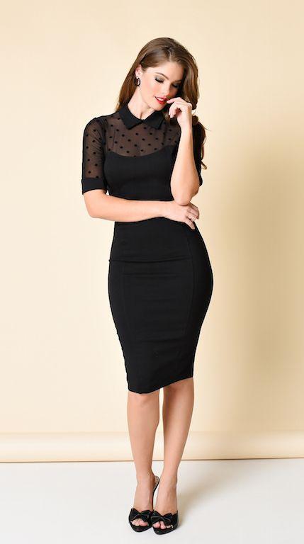 Collectif Black Sheer Swiss Dot Short Sleeve Wednesday Wiggle Dress