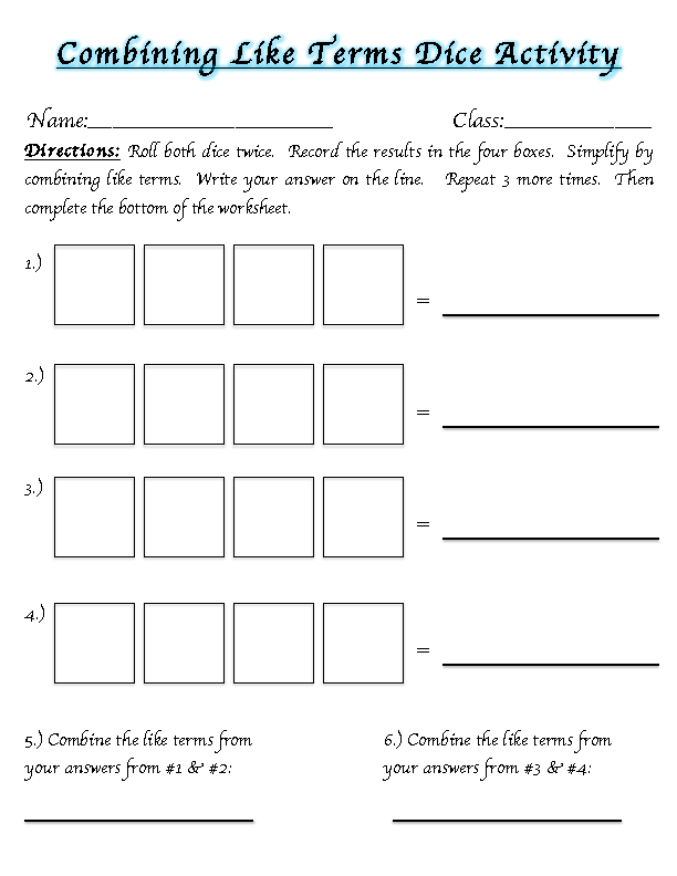 Worksheet 612792 Math Worksheets Combining Like Terms Algebra – Cml Math Worksheets