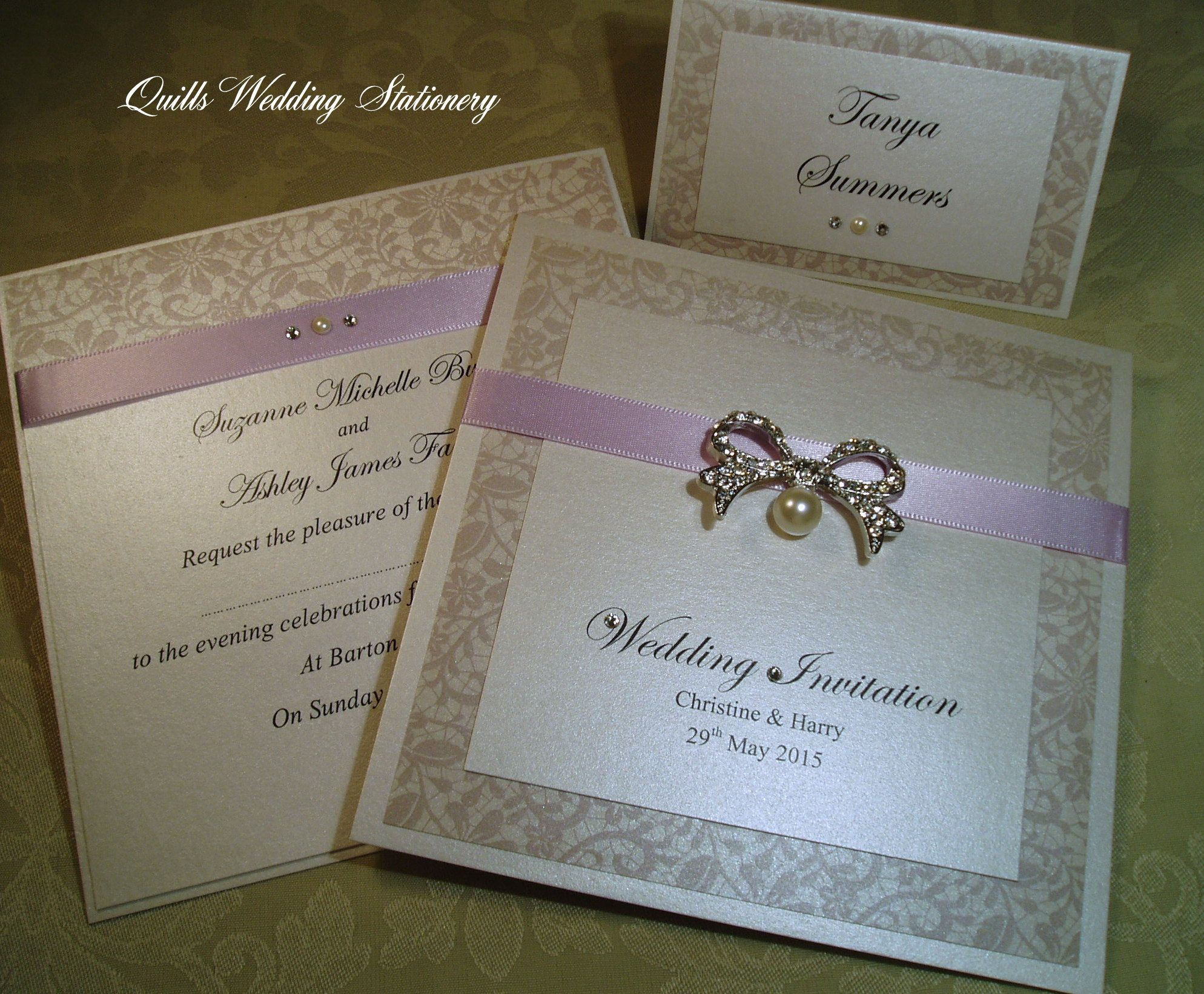 Wedding Invitations In Suede Rose With Pearl And Diamante Bow Www