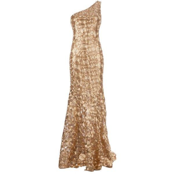 GEORGES MAK 'Madona' dress (18.635 BRL) ❤ liked on Polyvore featuring dresses, gowns, vestidos, long dresses, long beige dress, embellished dresses, metallic skater skirt, one shoulder evening gown and metallic dress