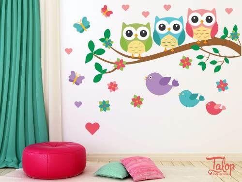 Vinilos decorativos infantiles buhos ploteos calcos for Vinilo habitacion nina