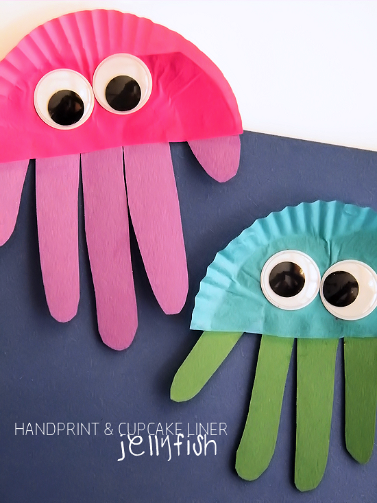 Cupcake Liner Handprint Jellyfish Kbn Season Summer Pinterest