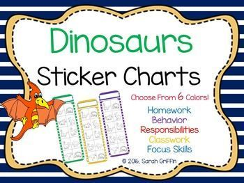 Dinosaur Positive Behavior Sticker Charts  Behavior Sticker Chart