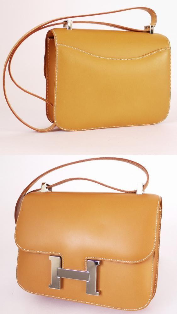 Hermes Box Calf Constance 23 Flap Bag Natural Palladium