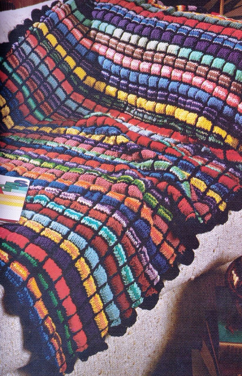 ViNTAGE STAIN GLASS PuFf STITCh Afghan RuG BLANKeT KNITTeD RETRo ...