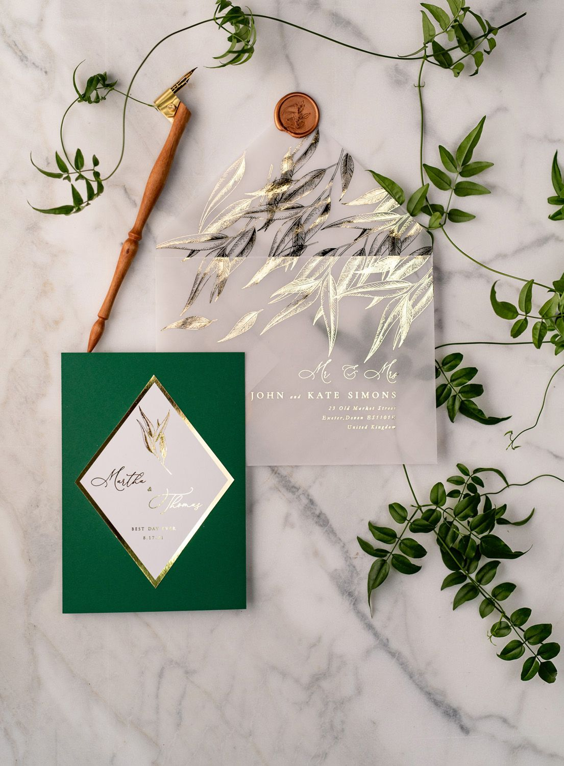 Green and gold luxory wedding invitations eucalyptus