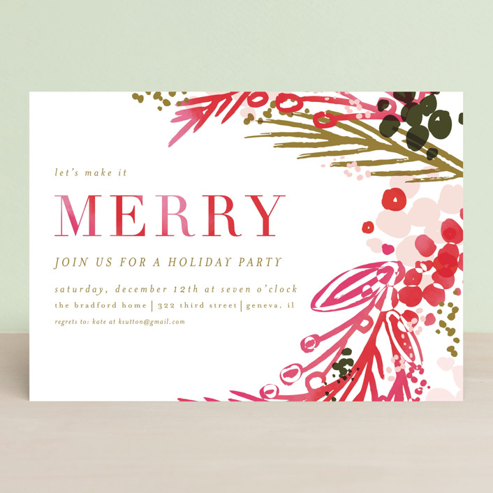 merry colorwash Holiday Party Invitations by Angela