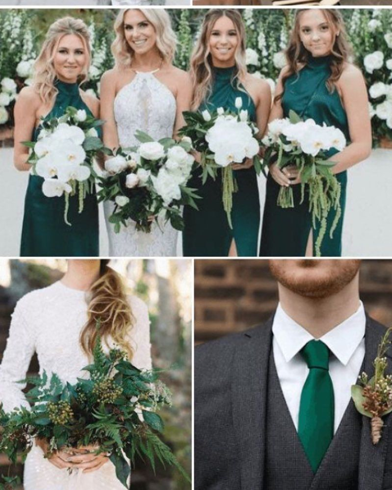 """What One Was Once on Instagram: """"Last moodboard of the week!! There'll be another one tomorrow…but different!! 🌚🍀💍🌚💍💍 #bridesmaids #bridesmaidsdresses #greenbridesmaids…"""""""