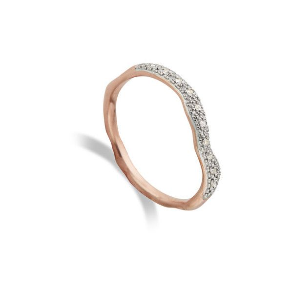 Rose Gold Riva Diamond Wave Stacking ring Diamond Monica Vinader DRHSd8SmcQ