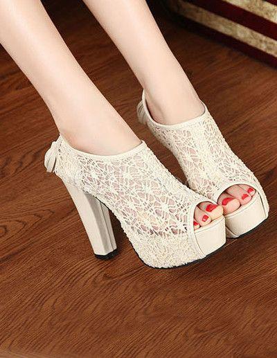 Zapatos elegantes de plataforma de tacón alto con malla albaricoque Peep  Toe tacón grueso a532cbd84d13