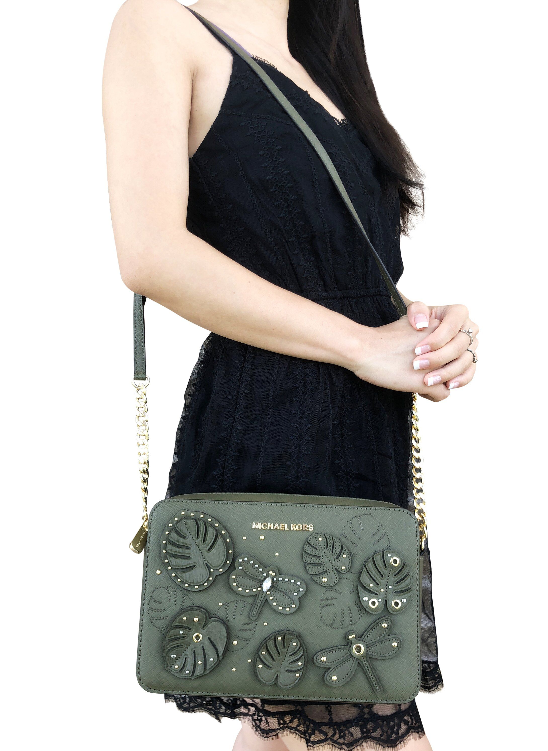 704117a80df48 Michael Kors Jet Set Large East West Crossbody Bag Olive Floral  MK   Handbags  MichaelKors
