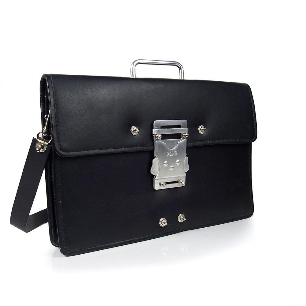 9f226b4162ea Vintage black leather briefcase with strap unusual handle