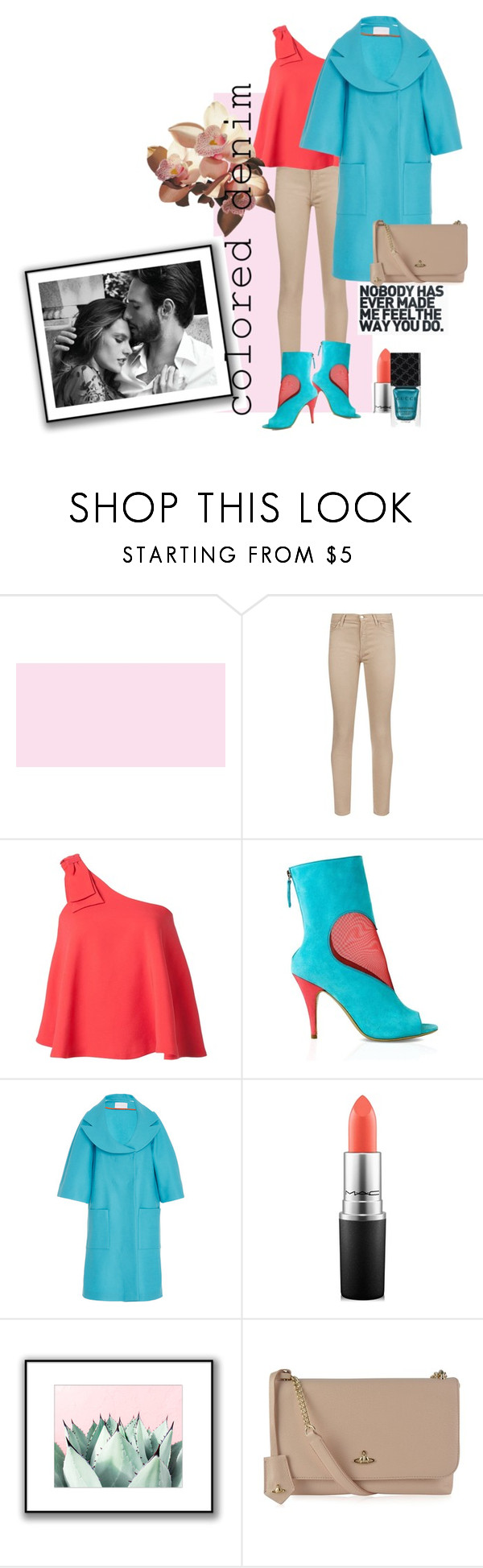 """""""colored#**""""jeans"""" by bluealmonds-dk ❤ liked on Polyvore featuring 7 For All Mankind, Saloni, Konstantina Tzovolou, MAC Cosmetics, Vivienne Westwood, Gucci and coloredjeans"""