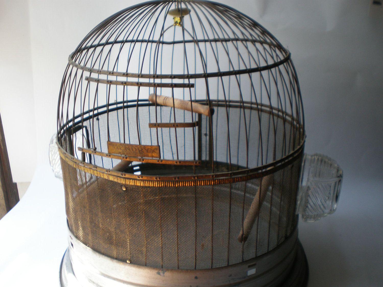 Vintage Victorian Bird Cage with original glass feeders. $72.00, via ...