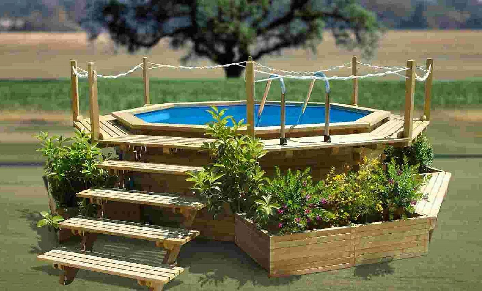 Outdoor attractive small swimming pool ideas wooden - Small above ground pool ideas ...