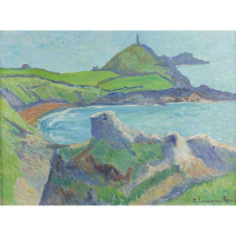 "'CAPE CORNWALL, ST JUST' | Elizabeth Lamorna Kerr (1905-1990) British AR: '12 x 16ins (30.5 x 40.75cms), oil on board, signed, titled verso. ""Mornie"" as Elizabeth was known was the daughter of Lamorna Birch.'     ✫ღ⊰n"