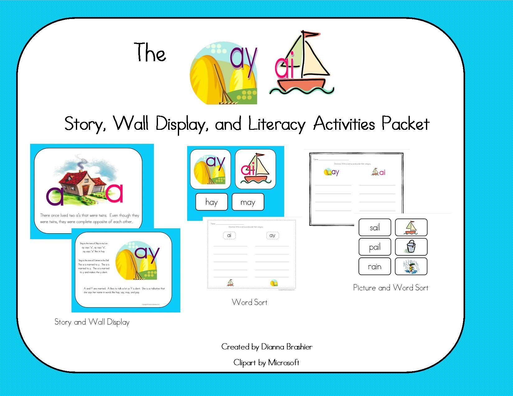 Ai Ay Story Printable Story Wall Signs And Activity