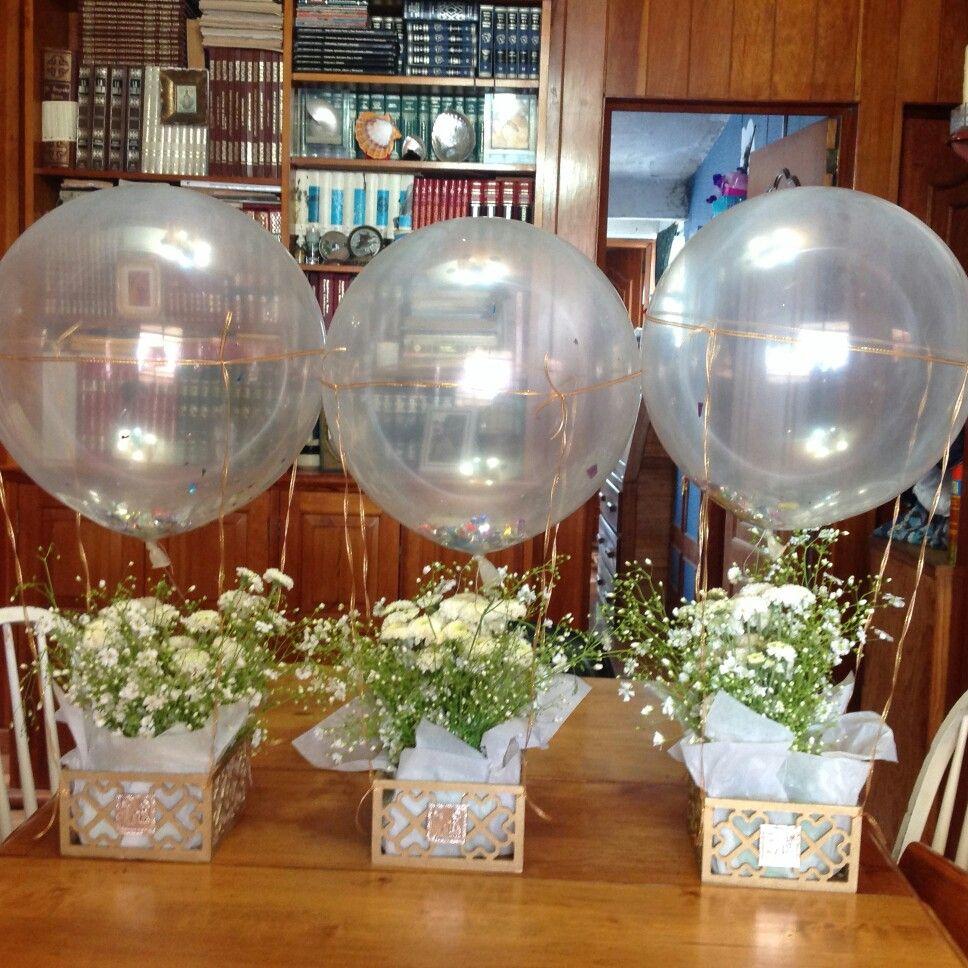 Centros de mesa globos aerostaticos vintage manualidades maja centro de mesa bautizo - Decoracion centro de mesa ...