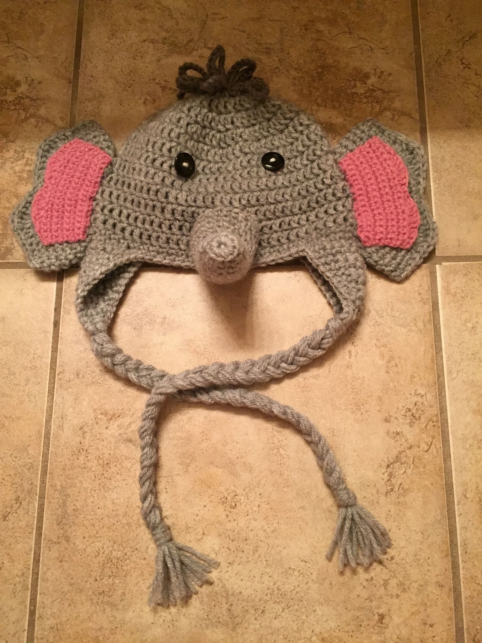 c07c1bd9940 Toddler size crochet elephant hat with ear flaps and braids ...