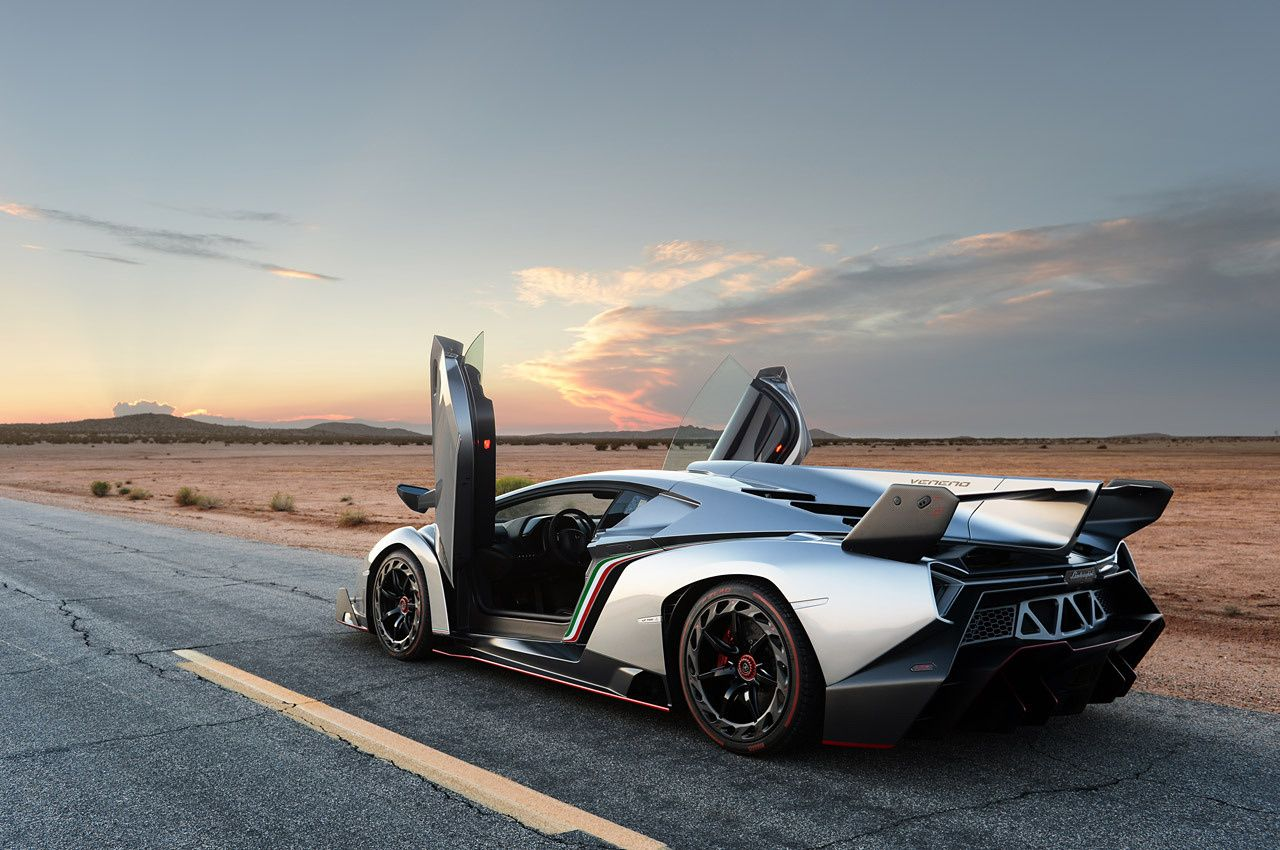Lamborghini Veneno on the road in desert rear side view
