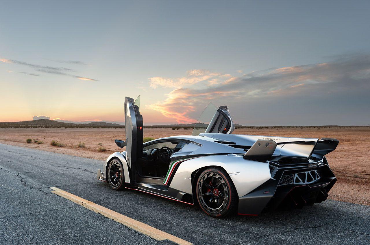 Lamborghini Veneno on the road in desert rear side view