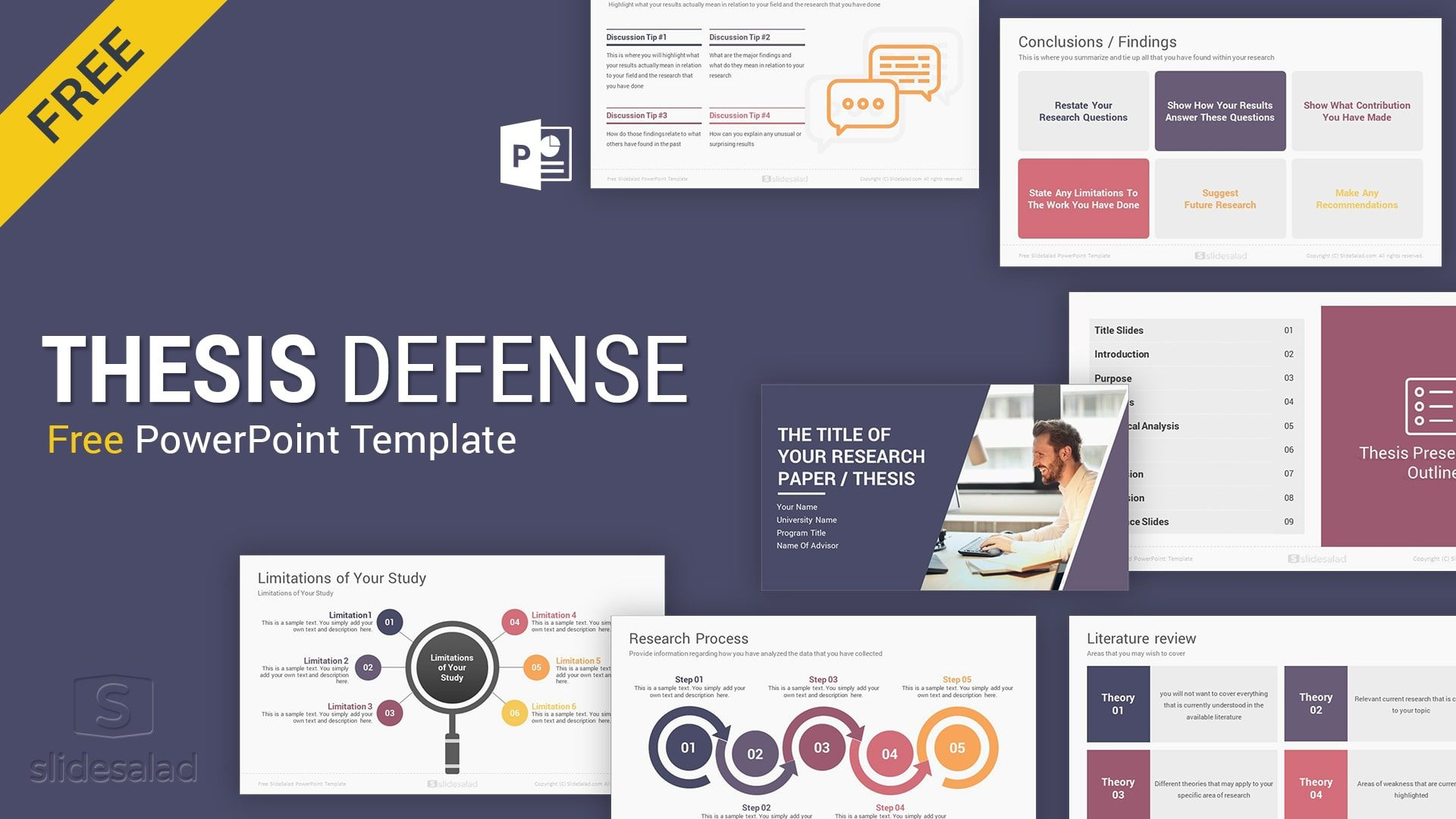 Master S Thesis Defense Free Powerpoint Template Design Slidesalad Powerpoint Templates Powerpoint Design Templates Presentation Template Free