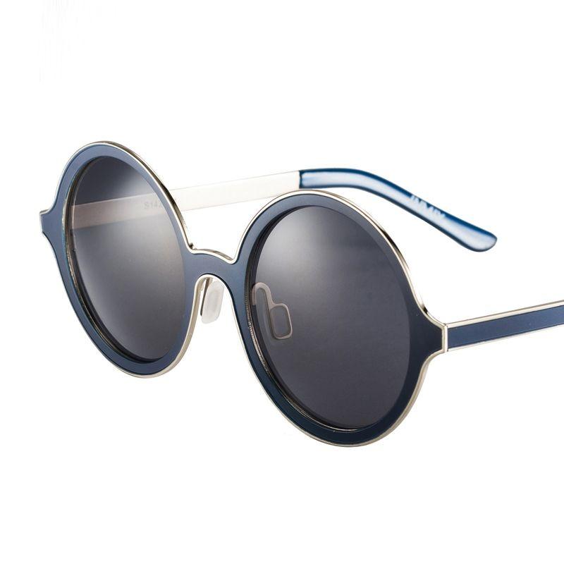 [$79.99] Blue Frame Unisex Retro Style Round Fashion UV Protection Sunglasses - Free Shipping