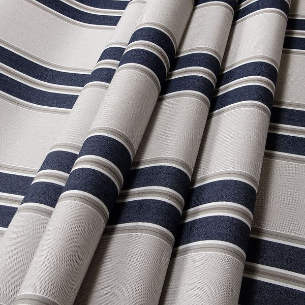 Sunbrella Awning Stripe 4916 0000 Navy Taupe Fancy 46 Fabric