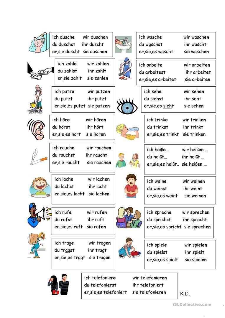 Wichtige Verben Deutsch, Deutsche sprache und Deutsch lernen