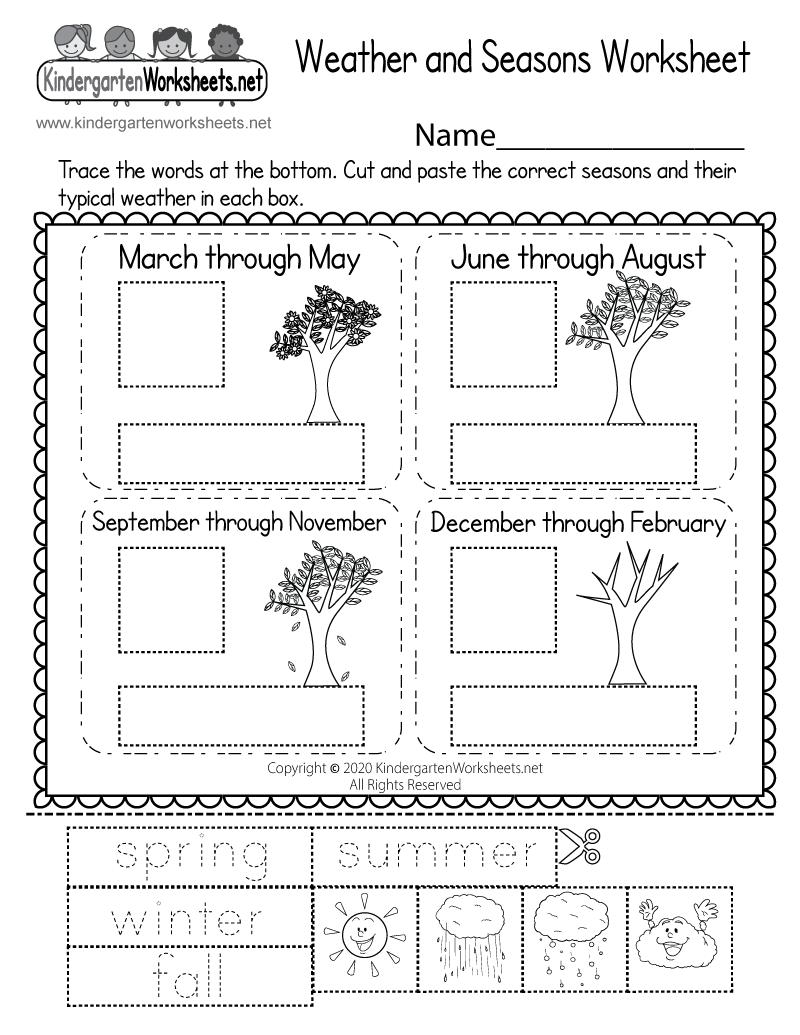 15+ Seasons Worksheets For Kindergarten PNG