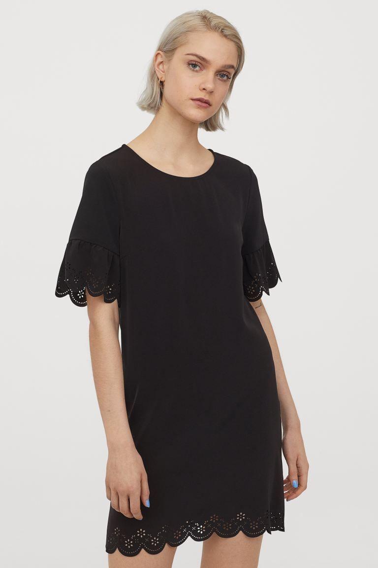 kleid mit bogenkanten - schwarz - ladies | h&m de