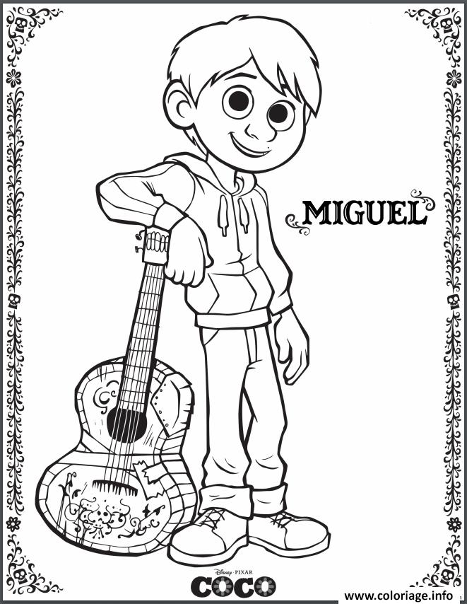 Coloriage Miguel Coco Disney Film Dessin à Imprimer Coco