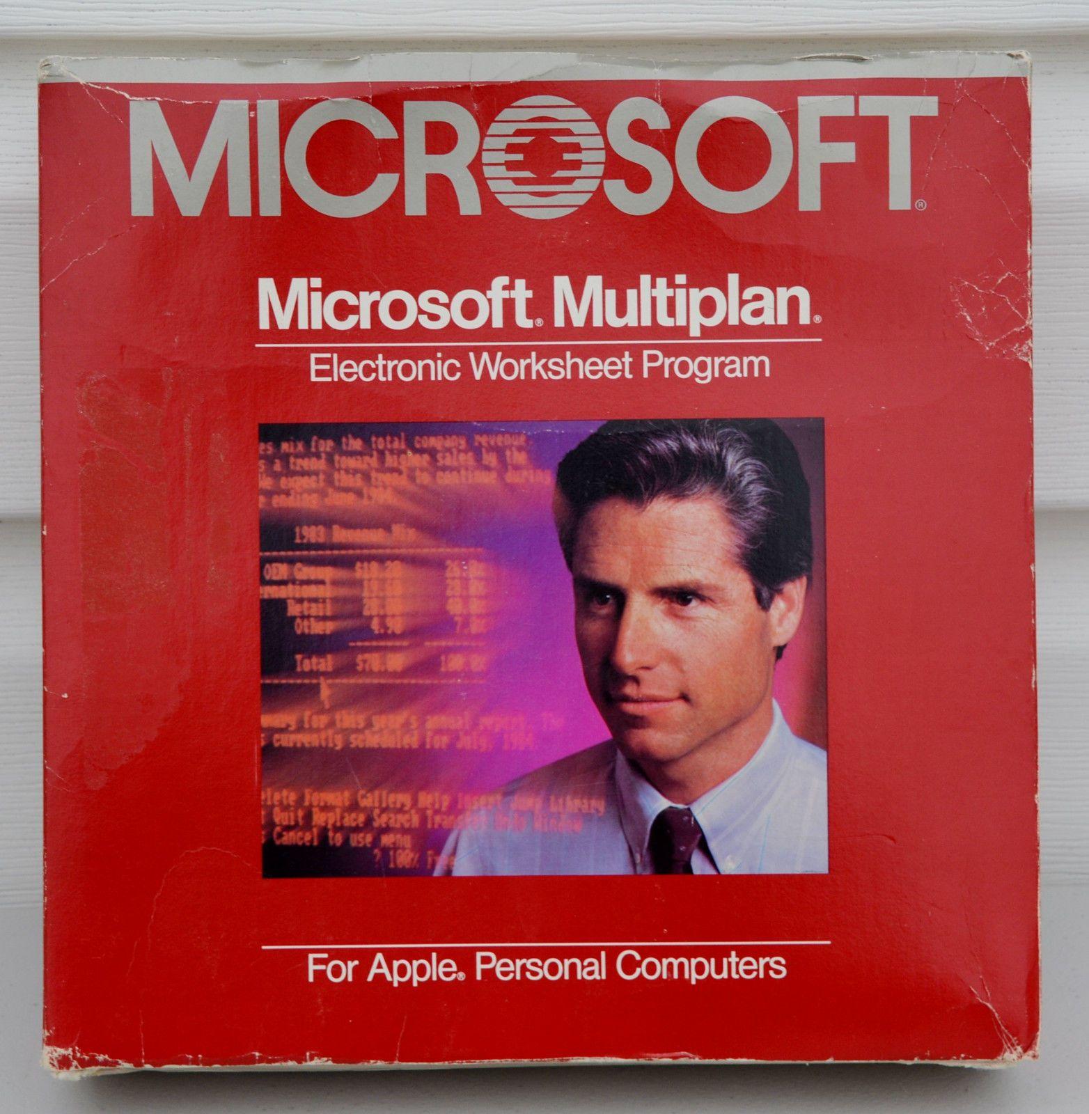 Vtg Microsoft Multiplan Electronic Worksheet Program Apple