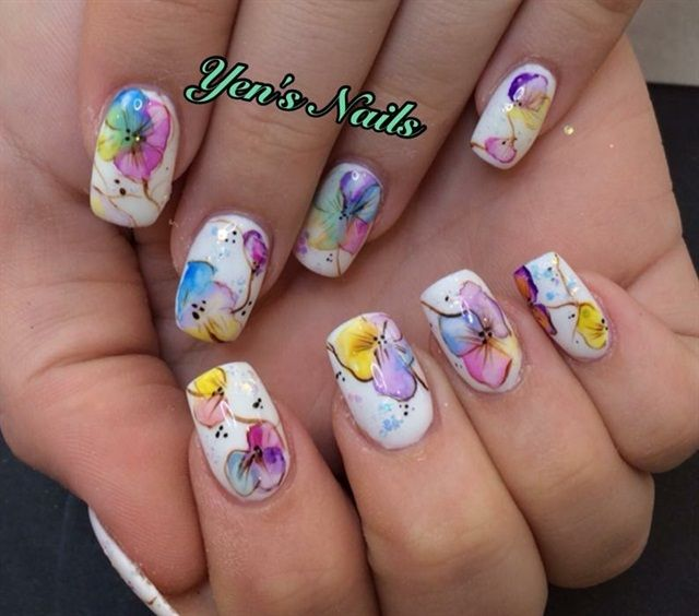 Day 329: Watercolor Flower Nail Art - Day 329: Watercolor Flower Nail Art Flower Nail Art, Flower