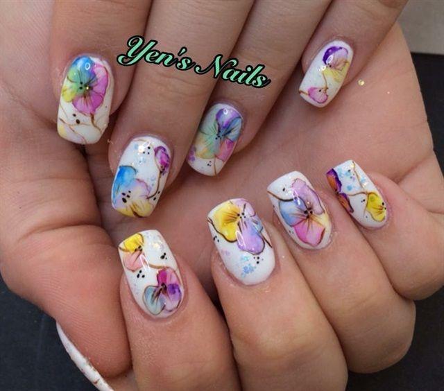 Day 329 Watercolor Flower Nail Art Flower Nail Art Pinterest