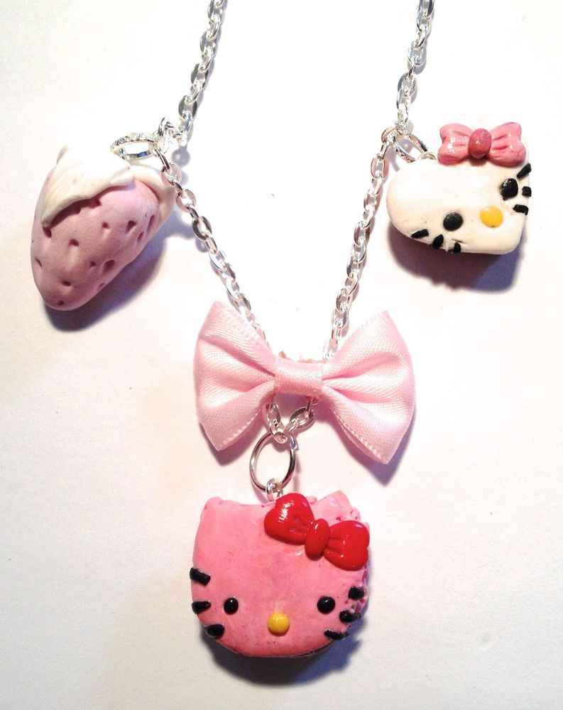 collier chat en pate fimo