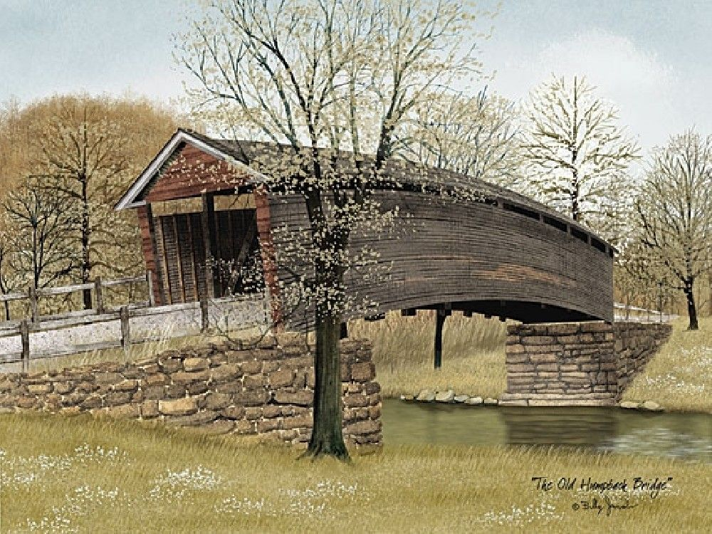 the old humpback bridge framed art by artist billy jacobs