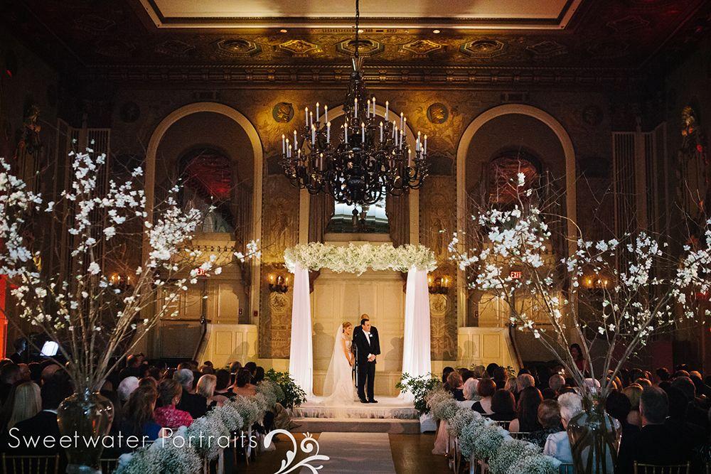 Hotel Dupont Wedding Ceremony Aisle Lighting