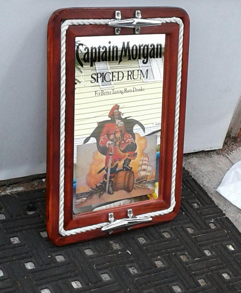 Captain Morgan Silver Spiced Rum Nautical Mirror Tray Wall Decor Sign Man Cave Nautical Mirror Mirror Tray Sign Man