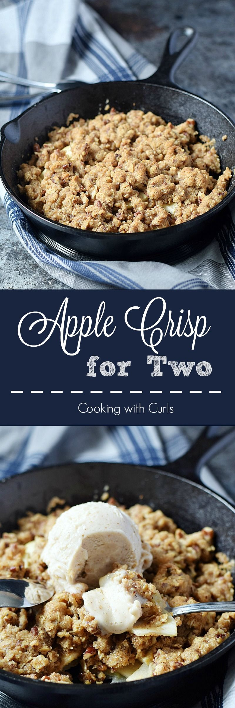 Warm and delicious Apple Crisp for Two served with a scoop of vanilla ice cream for the perfect sized dessert   cookingwithcurls.com