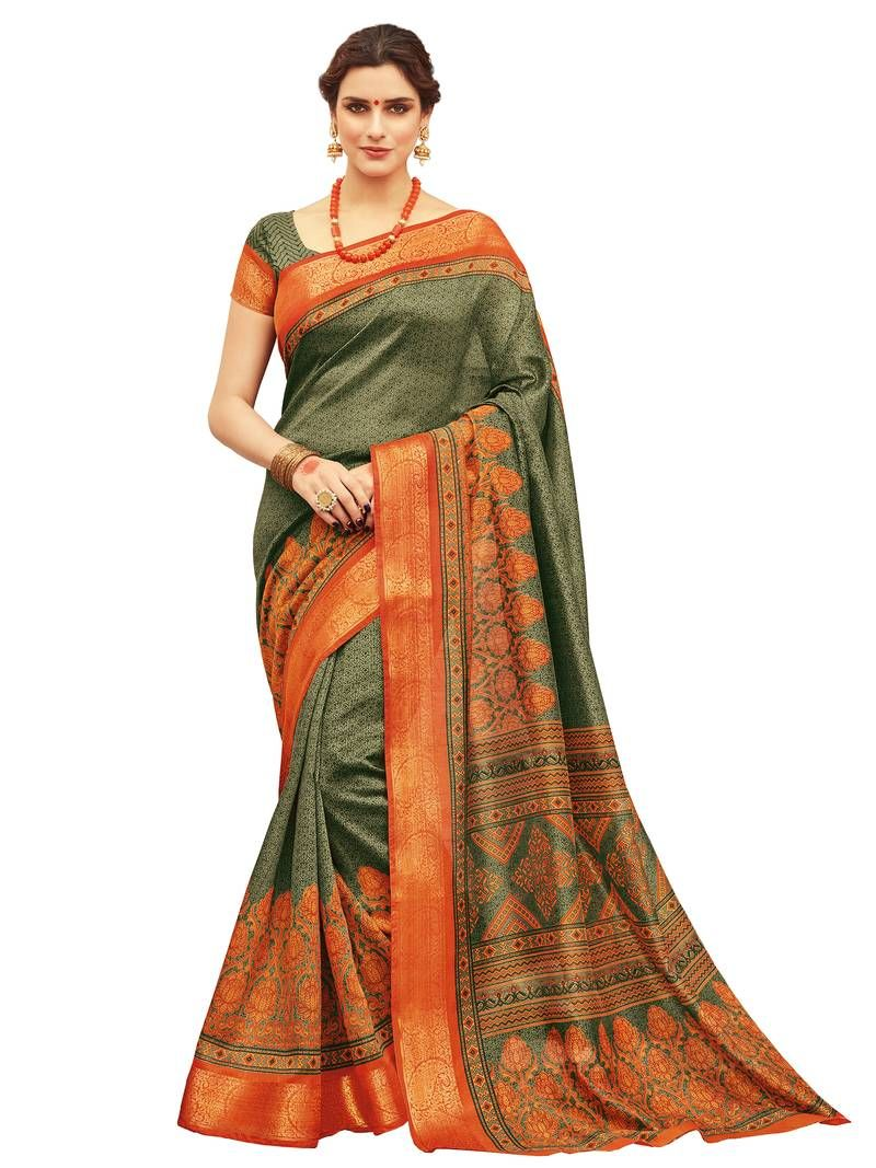 bef052e739b5d Olive printed silk saree with blouse